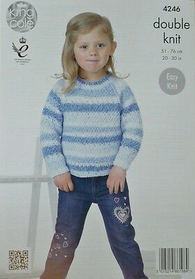 KNITTING PATTERN Girls Long Sleeve Round Neck Jumper DK King Cole 4246