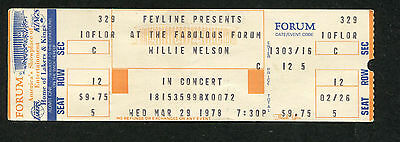 1978 Willie Nelson concert ticket stub Fabulous Forum Los Angeles Country Music