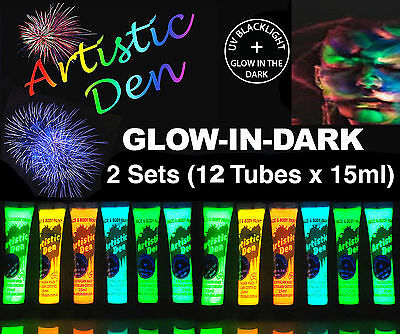12 x15ml UV NEON  GLOW IN THE DARK FACE & BODY PAINT 2 in 1, (2 sets of 6)