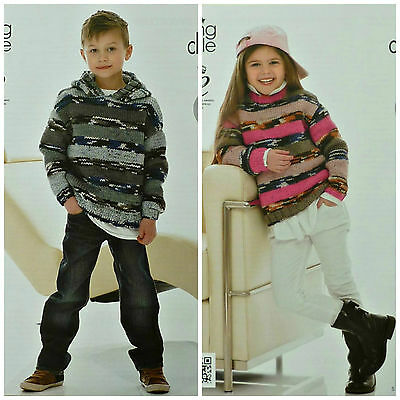 KNITTING PATTERN Girls/Boys Easy Knit Long Sleeve Hoodie & Jumper Chunky 4027