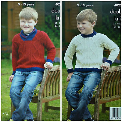 KNITTING PATTERN Boys Roll Collar & Round Neck Cable Jumper DK King Cole 4023