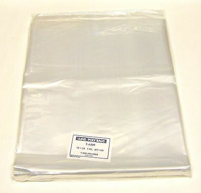 "Uline 10"" x 24"" 1 mil flat Industrial Poly Bags -- package of 100 bags"