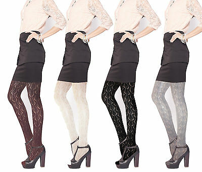 Petite Ladies Pointelle Sweater Tights Crochet Pelerine Pantyhose UK6-12 EU32-40