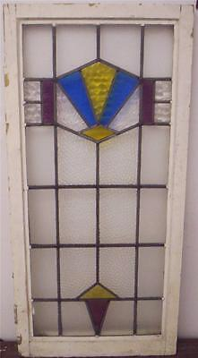 "LARGE OLD ENGLISH LEADED STAINED GLASS WINDOW  Geometric Design 20"" x 42"""