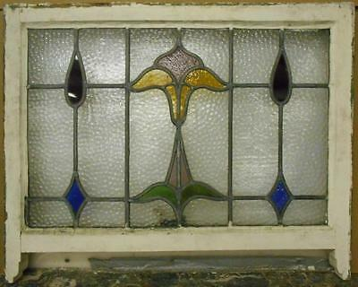 """ENGLISH LEADED STAINED GLASS  SASH WINDOW Floral Design 28.75"""" x 20.25"""""""