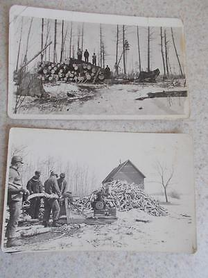 Antique 1930s 2 LUMBER JACK'S TREE cutting mill PHOTOGRAPH PHOTO POSTCARD vtg