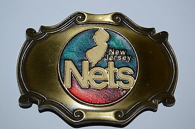 Vintage Brooklyn New Jersey Nets 1978 Raintree Brass Belt Buckle NBA Basketball