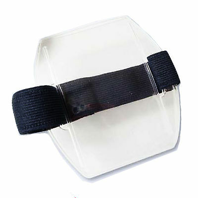 Arm Band Photo ID Badge Holder Vertical w/ Elastic Velcro Black/Navy/White Strap