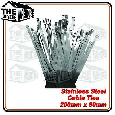 200 x 8 STAINLESS STEEL CABLE TIES 316 AUSTRALIAN 25 PCE HEAT RUST PROOF MARINE