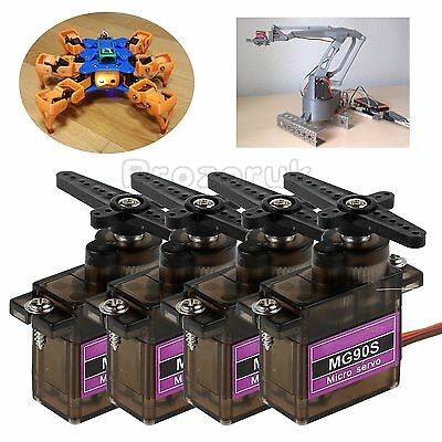 4x MG90S Micro Servo Metal Gear High Speed For Car Helicopter Robot Machine Arm