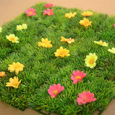 12cm Mini Artificial Plastic Sunflowers Grass Lawn Turf Carpet Home Garden Decor