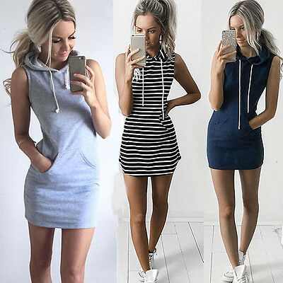 Fashion Women Drawstring Hooded Sleeveless Dress Pocket Casual Sport Mini Dress