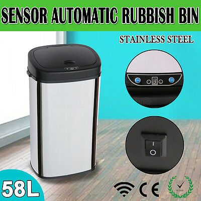 58L Motion Sensor Touchless Rubbish Bin Automatic Stainless Steel Kitchen Office