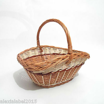 Wicker Basket Hamper with Handle Natural Willow Traditional Storage Hand Crafted