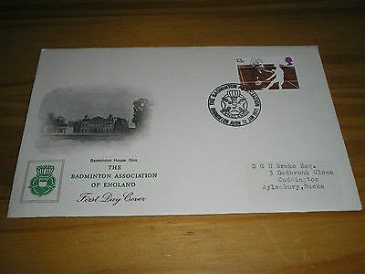 """1977 GB Stamps Racket Sports BADMINTON  ASSOCIATION """"Official"""" FDC """"Logo"""" Cancel"""