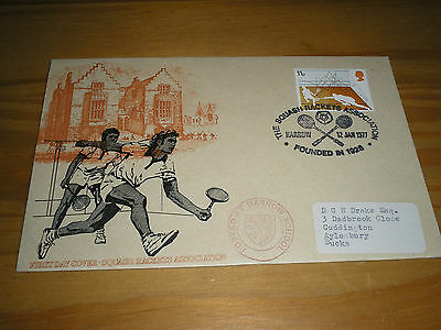 """1977 GB Stamps Racket Sports SQUASH RACKETS ASSOCIATION """"Official"""" FDC - HARROW"""