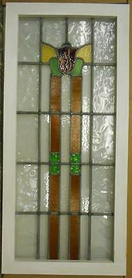 "LARGE OLD ENGLISH LEADED STAINED GLASS WINDOW Tall Floral 19"" x 41.5"""