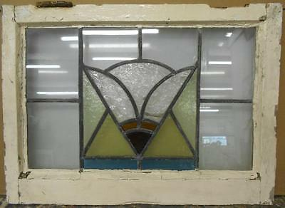 "MID SIZED OLD ENGLISH LEADED STAINED GLASS WINDOW Pretty Abstract 24.25"" x 17.75"