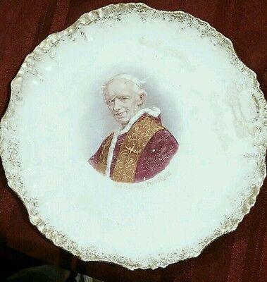 """Antique East Liverpool """" His Holiness Pope Leo Xlll """""""