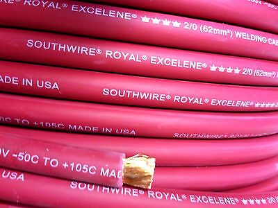 2/0 EXCELENE WELDING BATTERY CABLE RED 600V USA 105c EPDM JACKET 20' ft