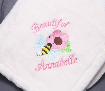 Embroidered Monogrammed Baby Blanket Stroller Extra Soft Boy or Girl Great Gift