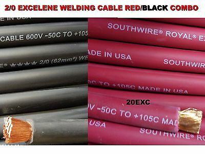 50' 2/0 Excelene Welding Cable 25 Ft Red & 25 Ft Black Usa Made 105 Epdm Jacket
