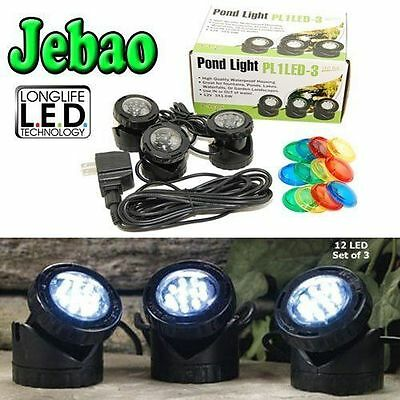 Jebao Pl1Led-3Ps Submersible Led Pond Light With Photocell Sensor, Set Of 3 New