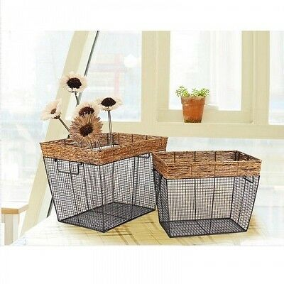 Adeco Multi-Purpose Woven Baskets with Newspaper Print Lining Home Decor, Set 3