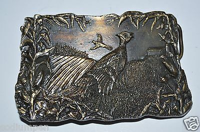 Vintage PHEASANT Hunter Bird Hunting Ornate Solid Brass Belt Buckle RARE