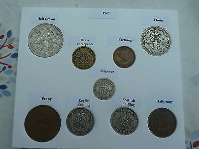 1945 Full Set of 9 Coins in Display Card - Ideal Birthday Present-Half Silver