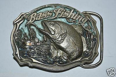 Vintage 1987 Bass Fishing Solid Heavy 3D Pewter Color Inlaid Belt Buckle