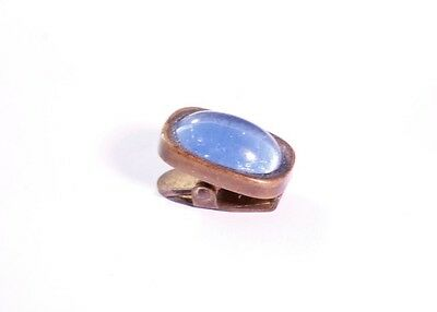 Old Small Antique Victorian Brass Beautiful Large Blue Stone Clip*S49