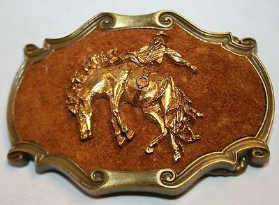 Vintage Bucking Bronco Cowboy Rodeo 1978 Raintree Brass & Leather Belt Buckle