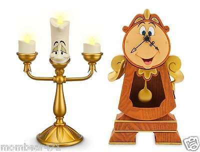 Disney Parks Beauty and the Beast Cogsworth Clock and Lumiere Light-Up Figure