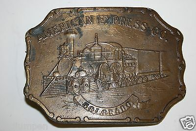Vintage Large American Express Train Colorado Lewis Brass Belt Buckle Rare