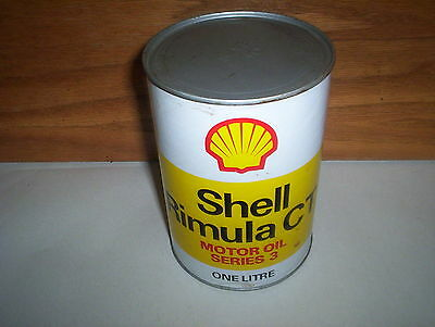 Vintage Shell Rimula CT Motor Oil Can Tin : Cardboard Composite (1 Liter Canada)