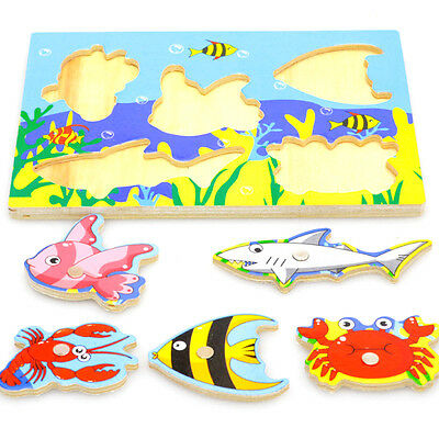 Baby Kids Magnetic Fishing Game + 3D Jigsaw Puzzle Board Wooden Educational Toy