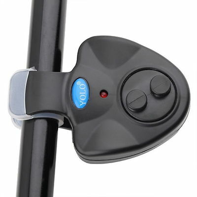 Black Electronic LED Light Fish Bite Sound Alarm Bell Clip On Fishing Rod New