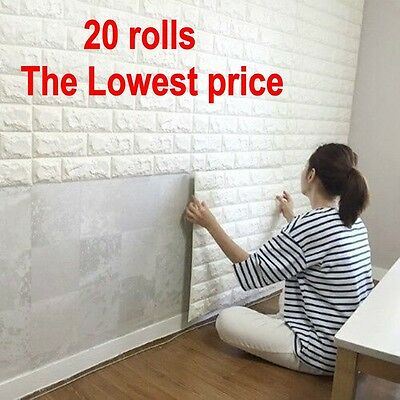 20 rolls 3D effect Stone Brick Wall Textured Vinyl Wallpaper Self-adhesive @LE3