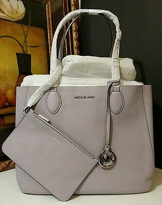 986fc4e7e60d NWT MICHAEL KORS Mae Soft Leather Large East West Carryall Tote Lilac/Silver