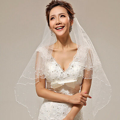1 Layer Ivory Crescent Edge Bride Bridal Wedding Accessories Peral Veil No Comb