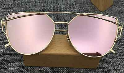 Women's Flat Lens Mirrored Metal GOLD Frame Glasses Oversized Cat Eye Sunglasses