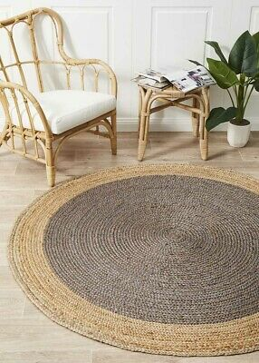 RUGS ROUND SILVER Tint Circle Natural Jute Floor mat Organic **FREE POST**