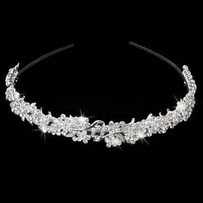 Silver Wedding Bridal Prom Party Crystal Flower Hair Band Headband Tiara