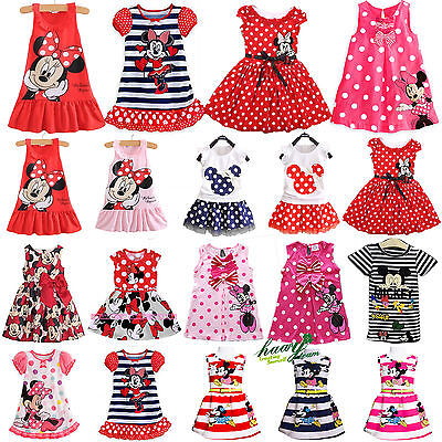 Toddler Baby Kids Mickey Minnie Mouse Skirt Sundress Summer Party Dress Costume