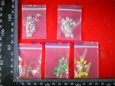50pcs(5 colors, 10 each) 3mm Red Yellow Green Blue White LED Assortment Kit