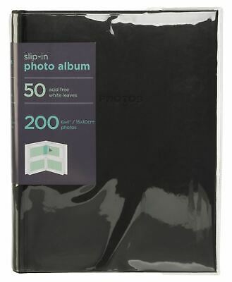 "WHSmith Photo Album Black Case Bound 50 Slip-In Leaves Holds 200 6x4"" Photos"