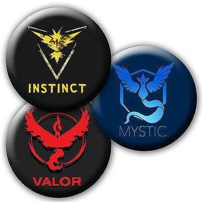 Pokemon Go Valor, Instinct, Mystic Team Badge/magnets/mirrors/keyrings