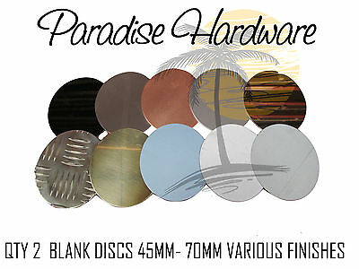 Qty 2 - Blank Discs 45mm - 70mm Diameter - Various Finishes Available DIY Steel