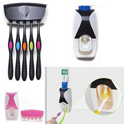 Home Automatic Toothpaste Dispenser Toothbrush Holder Stand Set Wall Mount Rack